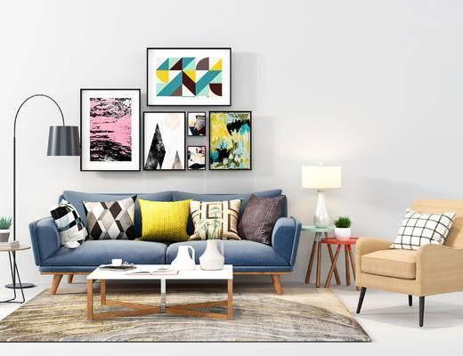 现代, 北欧, 多人沙发, 沙发组合, 单人沙发, 装饰画, 挂画, 落地灯, 边几, 茶几, 台灯, 陈设品, 抱枕
