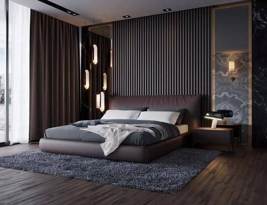 后现代卧室, 后现代, 现代床, 壁灯, 床头柜, 窗帘