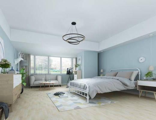卧室, 双人床, 床头柜, 边柜, 茶几, 吊灯, 墙饰, 摆件, 装饰品, 陈设品, 落地灯, 北欧