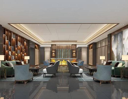 酒店大堂, 大堂大厅, 休闲沙发组合, 博物架, 装饰架, 沙发组合, 沙发茶几组合, 台灯, 摆件组合, 现代