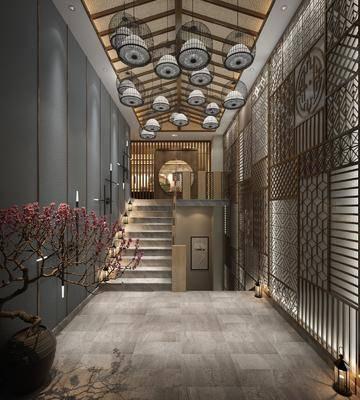 樓梯走道, 玄關墻, 花格墻, 木質吊頂, 垂釣燈, 盆栽