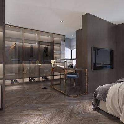 衣帽间, 床, 衣柜, 衣服, 服饰, 现代