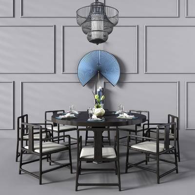 新中式, 新中式餐桌椅, 餐桌椅, 椅子, 扇子, 吊灯