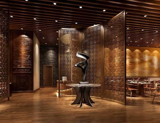 餐厅, 中式餐厅, 酒店, 中式, 餐桌椅, 桌椅组合