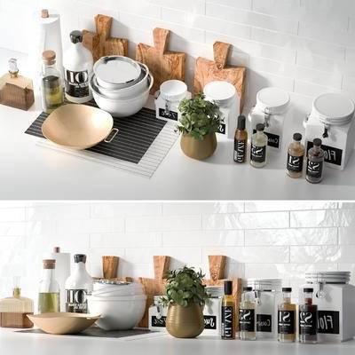 厨具, 调味瓶, 盆栽, 瓷砖, 现代, 厨房, 厨房用品
