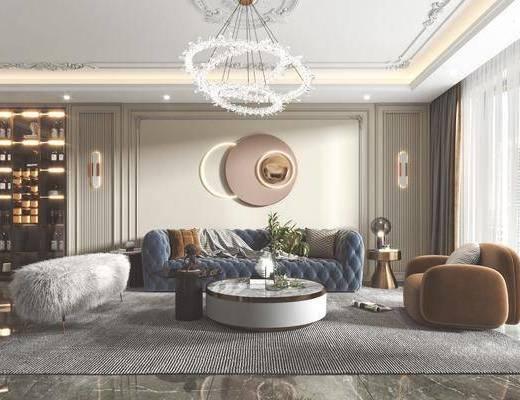 现代客餐厅, 沙发, 茶几, 餐桌椅, 吊灯, 墙饰