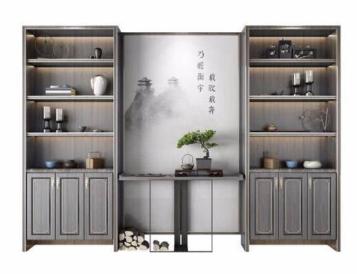 摆件, 装饰品, 案几, 植物, 盆栽, 书籍, 新中式柜架组合, 柜架组合, 新中式