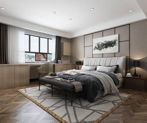 卧室, 中式主卧, 中式卧室, 床, 中式挂画, 脚踏