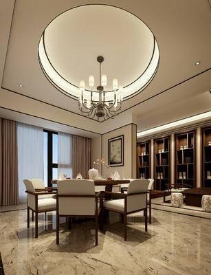 餐厅, 餐桌椅, 桌椅组合, 吊灯, 书柜