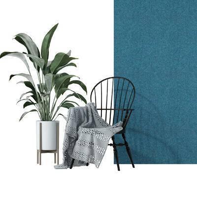 单椅, 铁艺椅, 植物, 盆栽