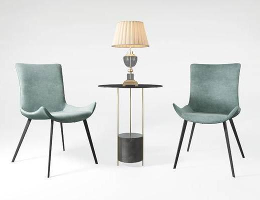 北欧, 单人椅, 休闲椅, 边几, 台灯