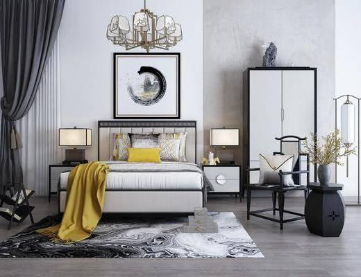 中式床具组合, 双人床, 床头柜, 吊灯, 边几, 边柜