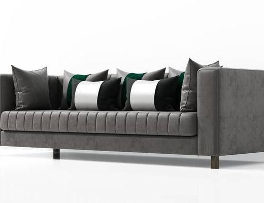 沙发, 多人沙发, 现代沙发, 现代, 抱枕