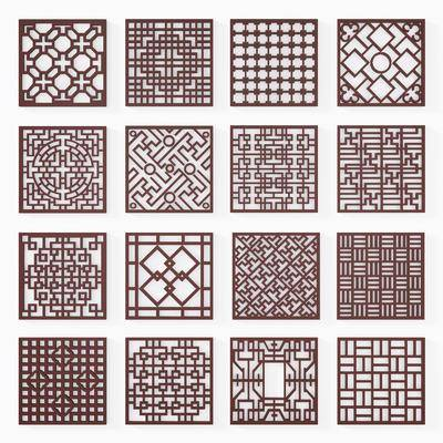 中式雕花屏风镂空隔断, 中式, 隔断, 窗花, 屏风, 雕花