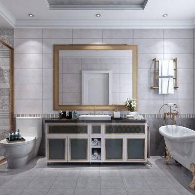 卫生间, 现代, 后现代, 洗手台, 洗手盆, 淋浴间, 浴缸, 便器