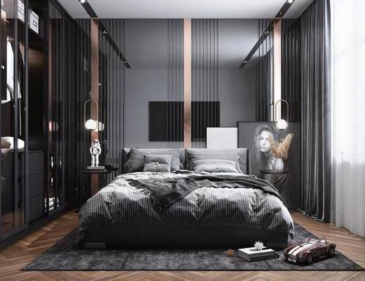 双人床, 衣柜, 装饰品, 吊灯, 摆件