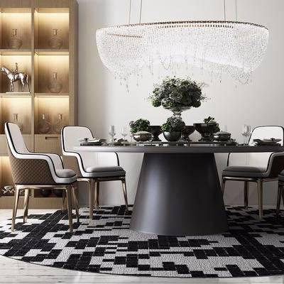餐桌椅, 现代, 地毯, 酒柜, 现代吊灯, 椅子