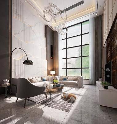 客厅, 现代客厅, 沙发组合, 现代沙发, 茶几, 落地灯, 电视柜, 摆件, 吊灯, 植物, 盆栽, 现代