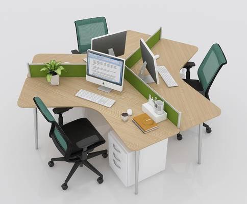 办公椅, 办公桌, 桌椅, 电脑, 绿植, 柜子