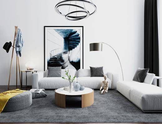 现代, 沙发组合, 茶几, 落地灯, 边几