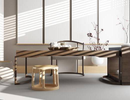 茶桌, 桌子, 椅子, 凳子, 盆景, 单椅, 新中式, 中式