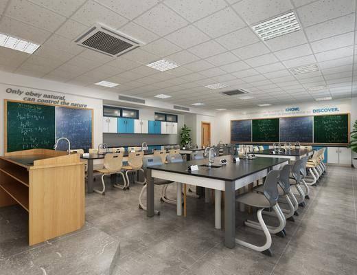 现代, 学校, 实验室, 讲台, 椅子, 桌子, 黑板