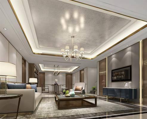 中式客厅, 客厅, 茶室, 书架, 沙发, 茶几, 电视柜