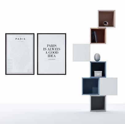 木框架, 装饰柜, 装饰画, 挂画, 现代