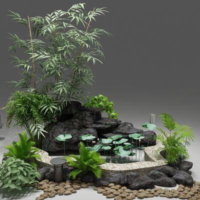 景观小品, 园林, 植物, 盆栽