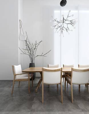 现代餐桌椅吊灯组合, 现代, 餐桌椅, 椅子, 花枝, 花枝灯