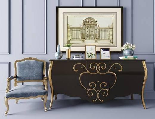 单椅, 边柜, 摆件组合, 装饰画