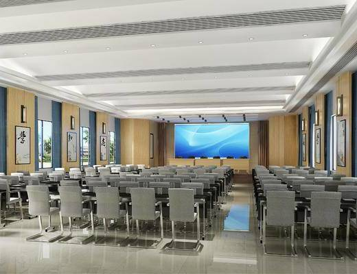 多功能厅, 会议室, 办公椅组合, 壁灯组合, 前台组合