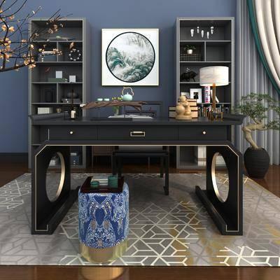 桌椅组合, 书桌, 单人椅, 凳子, 盆栽, 绿植植物, 台灯, 装饰柜, 风景画, 装饰画, 挂画, 花卉, 摆件, 装饰品, 陈设品, 中式