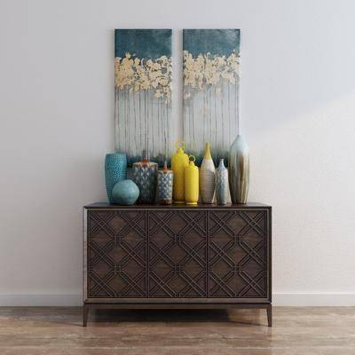 边柜, 玄关柜, 新中式, 中式, 花瓶, 装饰画