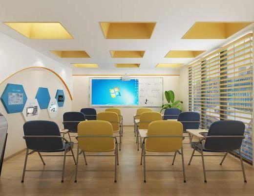 会议室, 单椅, 墙饰, 白板, 投影仪