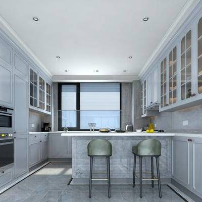 厨房, 现代, 橱柜, 厨具, 厨柜, 简欧