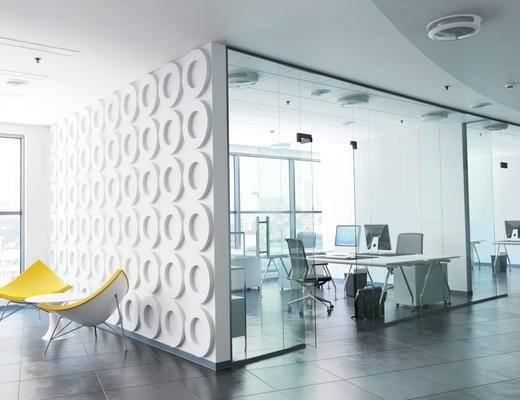 办公室, 办公区, 现代办公室, 办公桌椅, 电脑, 休闲椅
