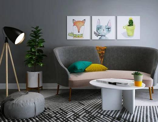 沙发组合, 沙发茶几组合, 北欧沙发, 现代沙发, 北欧, 装饰画