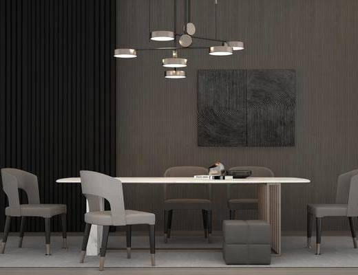 桌椅组合, 餐桌椅组合, 现代吊灯组合