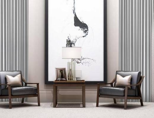 现代, 新中式, 单人沙发, 沙发, 休闲沙发, 边几, 角几, 台灯, 装饰画