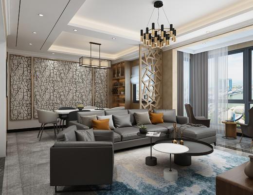 现代客厅, 客厅, 沙发组合, 沙发茶几组合, 吊灯, 桌椅