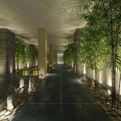 休閑過道, 走廊過道, 竹子組合, 中式