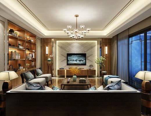 新中式客厅, 新中式, 客厅, 中式推拉门, 装饰柜, 中式沙发, 中式茶几, 新中式电视柜, 金属吊灯