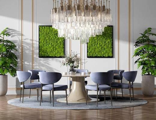 桌椅组合, 餐桌, 餐椅, 单人椅, 植物墙, 吊灯, 盆栽, 绿植植物, 现代