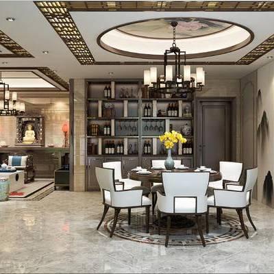 家装空间, 客厅, 书房, 中式客厅, 餐厅, 沙发组合