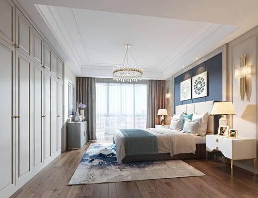 美式轻奢, 卧室, 双人床, 床头柜