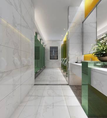 公共卫生间, 小便池, 洗手台组合, 现代