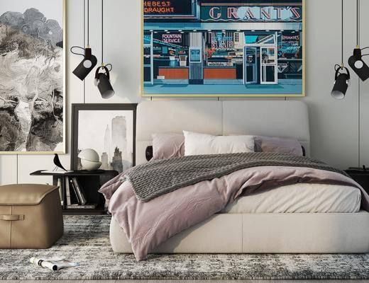 脚凳组合, 装饰画, 双人床, 吊灯, 床头柜