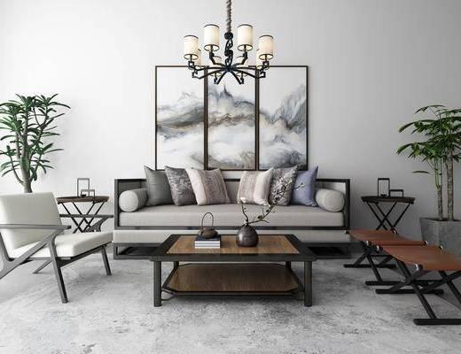 多人沙发, 单人沙发, 茶几, 边几, 凳子, 摆件, 绿植, 吊灯, 装饰画, 新中式
