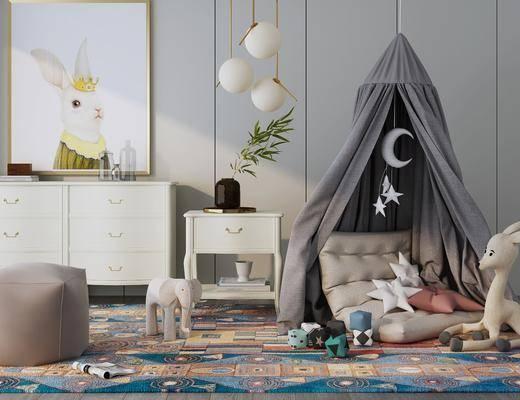 边柜, 摆件组合, 帐篷, 玩具, 装饰画, 吊灯